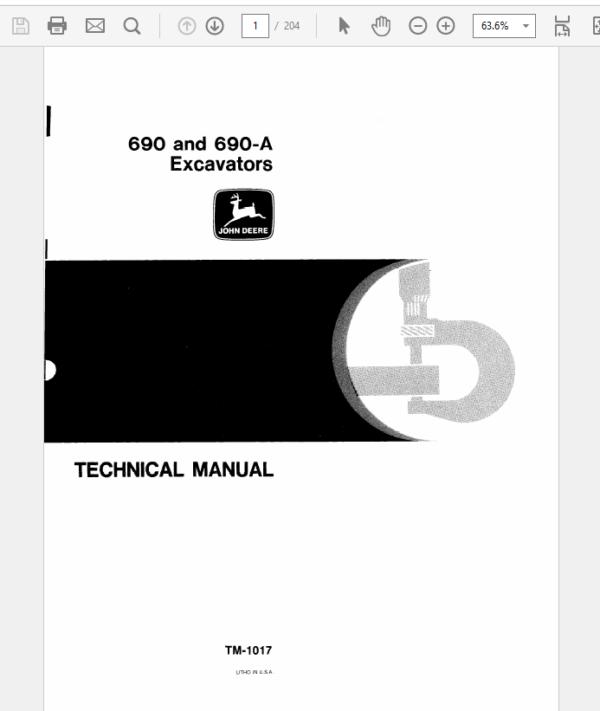 John Deere 690, 690A Excavator Service Manual TM-1017