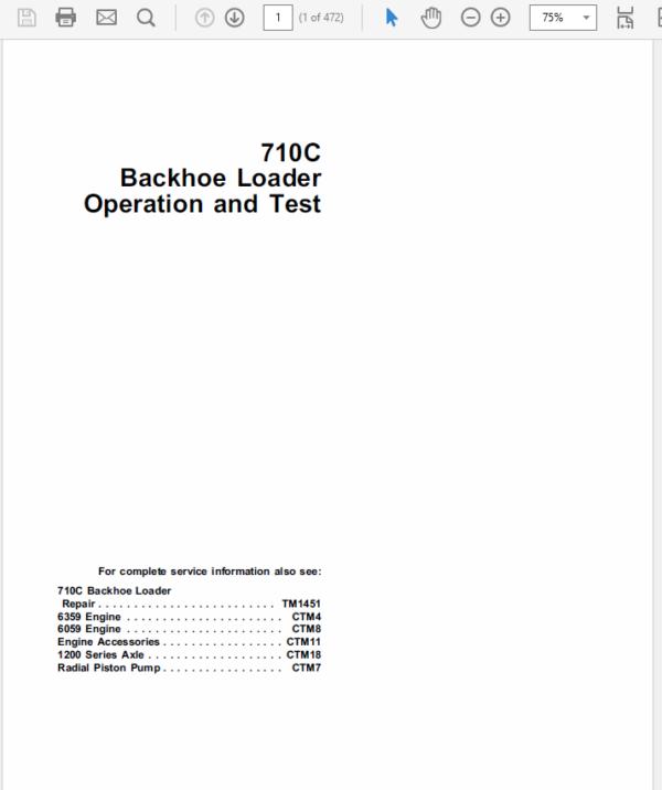 John Deere 710C Backhoe Loader Manual TM-1450 & TM-1451