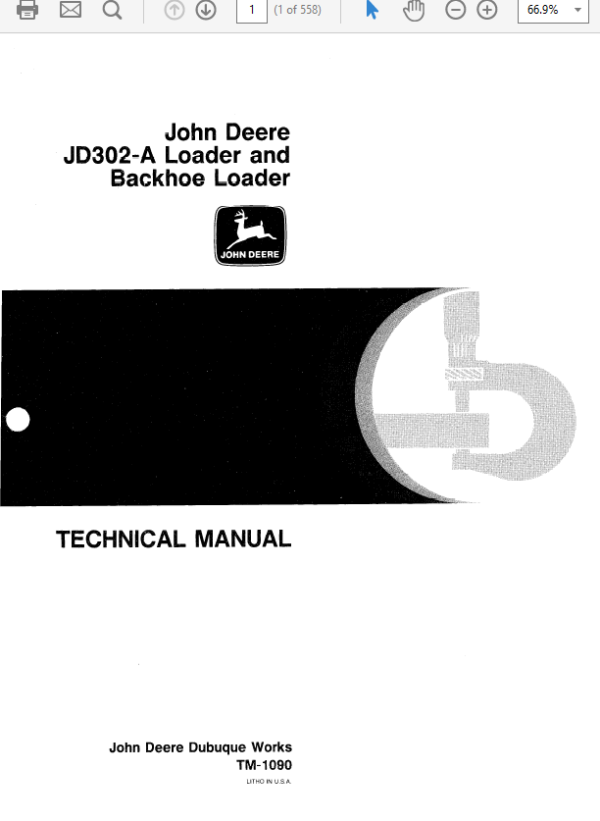 John Deere 302A Backhoe Loader Service Manual TM-1090