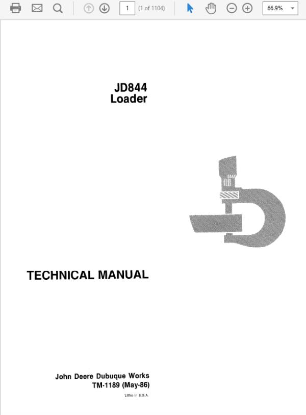 John Deere 844 Loader Service Manual TM-1189