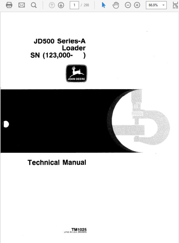 John Deere 500A Loader Service Manual TM-1025