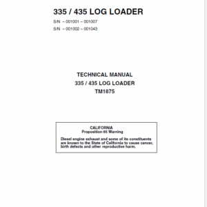 John Deere 335, 435 Log Loader Service Manual TM-1875