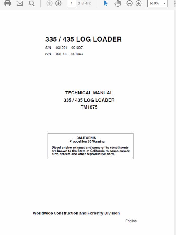 John Deere 335, 435 Log Loader Service Manual TM-1875