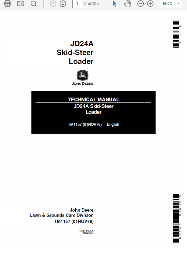 John Deere 24A Skid-Steer Loader Service Manual TM-1157