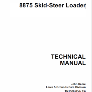 John Deere 8875 Skid-Steer Loader Service Manual TM-1566