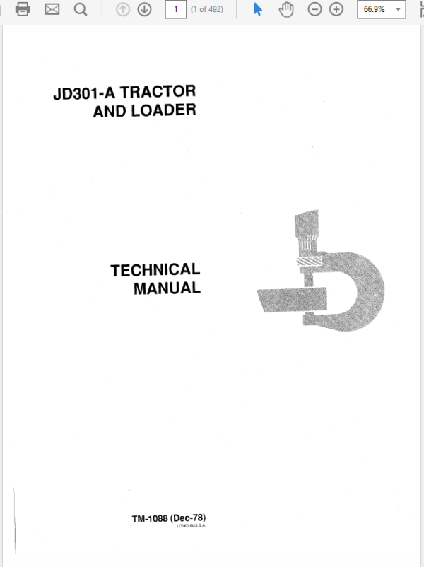 John Deere 301A Tractor and Loader Technical Manual TM-1088