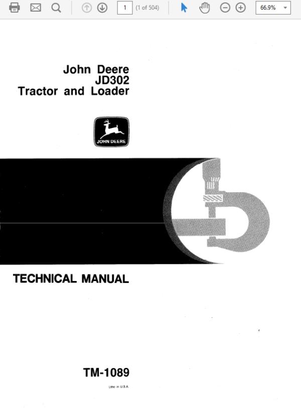 John Deere 302 Tractor and Loader Technical Manual TM-1089