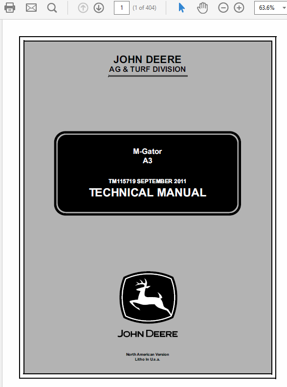 John Deere A3 M-Gator Service Manual TM-115719