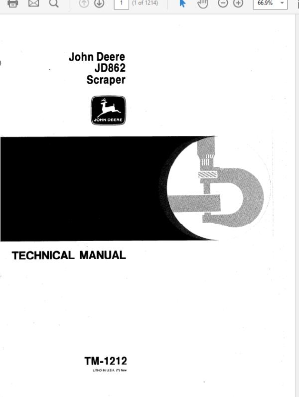 John Deere 862 Scraper Technical Manual TM-1212