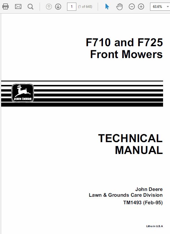 John Deere F710, F725 Front Mower Service Manual TM-1493