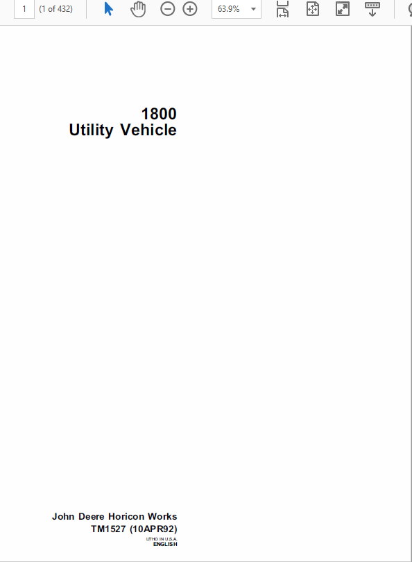 John Deere 1800 Utility Vehicle Technical Manual TM-1527