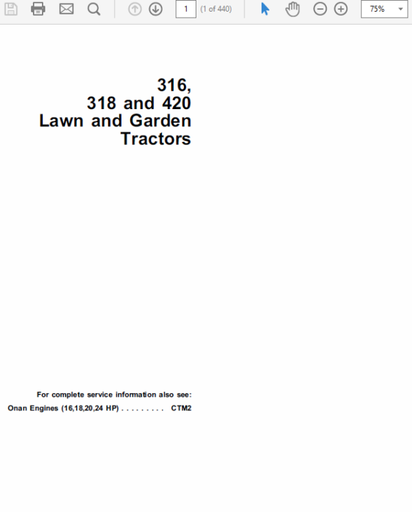 John Deere 316, 318, 420 Lawn and Garden Tractors Service Manual TM-1590