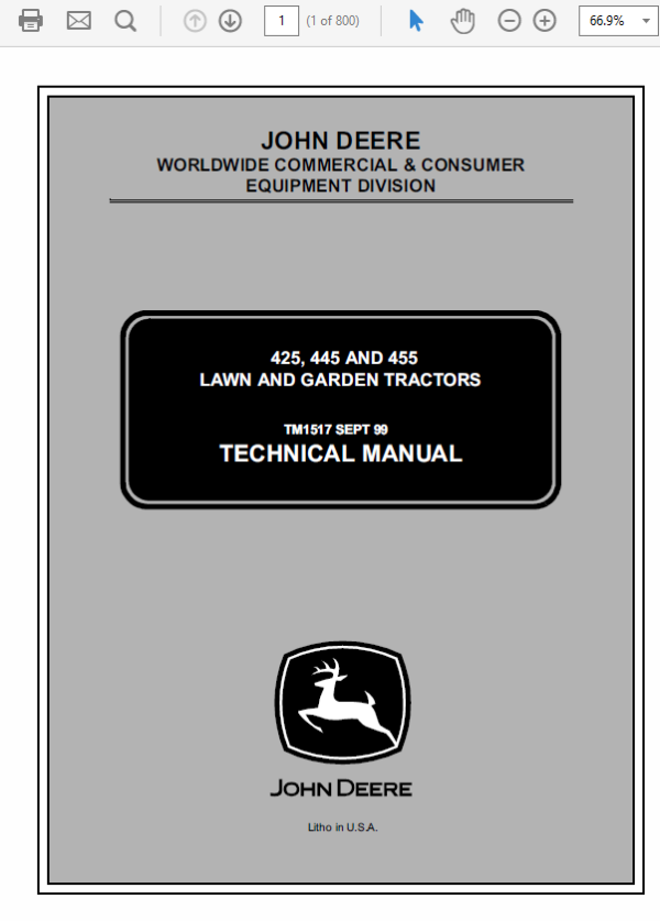 John Deere 425, 445 and 455 Lawn and Garden Tractors Technical Manual TM-1517