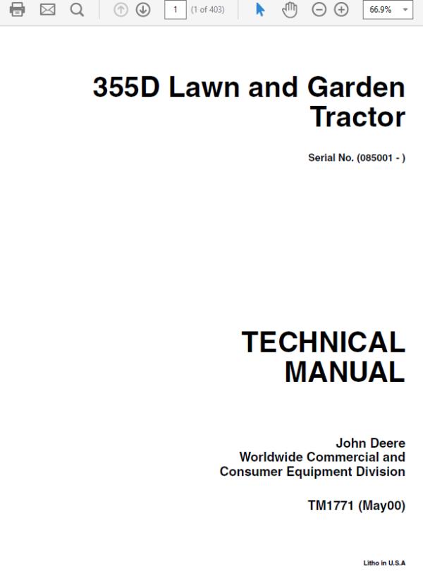 John Deere 355D Lawn and Garden Tractor Service Manual TM-1771