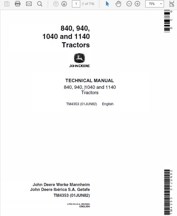 John Deere 840, 940, 1040, 1140 Tractors Service Manual TM-4353