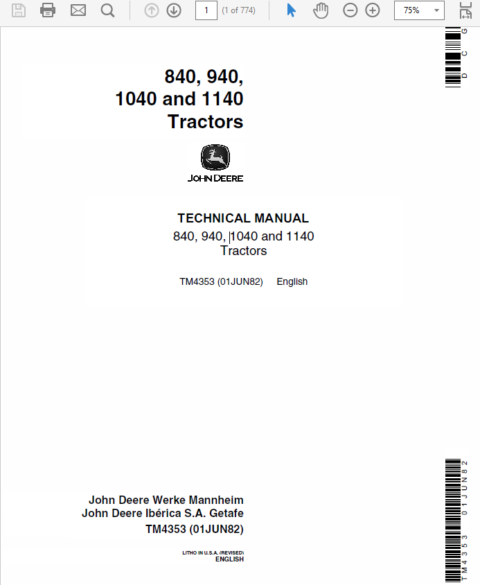 John Deere 840, 940, 1040, 1140 Tractors Technical Manual TM-4353