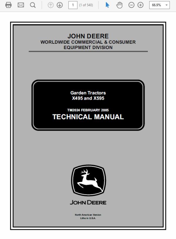 John Deere X495 and X595 Garden Tractors Technical Manual TM-2024