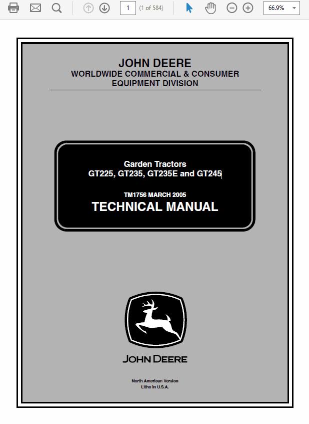 John Deere GT225, GT235, GT235E, GT245 Garden Tractors TM-1756
