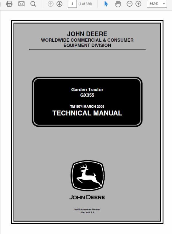 John Deere GX355 Garden Tractor Service Manual TM-1974