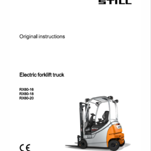 Still Electric Forklift Truck RX60: RX60-16, RX60-18, RX60-20 Repair Manual