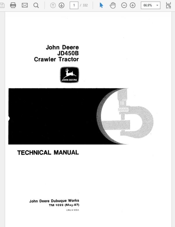 John Deere 450B Crawler Tractor Technical Manual TM-1033