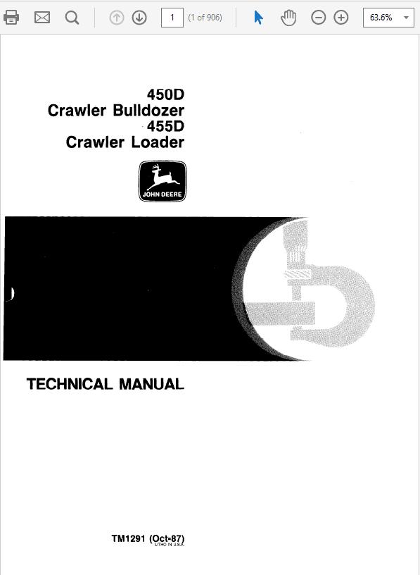 John Deere 450D, 455D Crawler Bulldozer Loader Service Manual