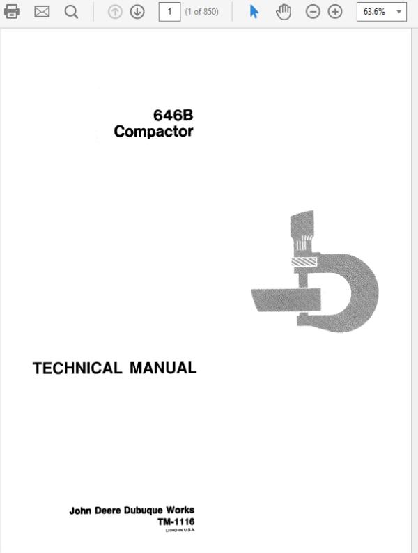 John Deere 646B Compactor Technical Manual TM-1116