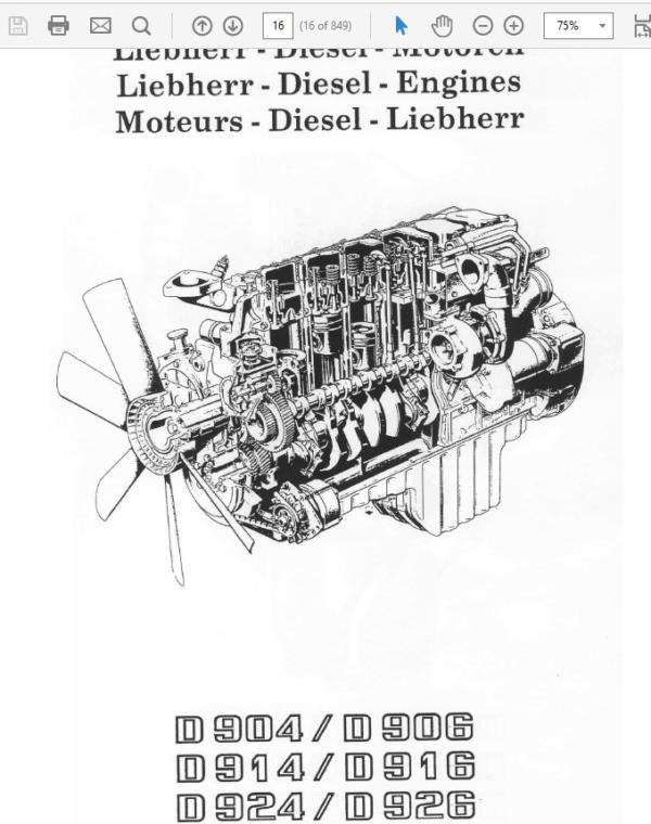 Liebherr Diesel Engine D904 – D906, D914 – D916, D924 – D926 Manual TM-1849 & TM-2223