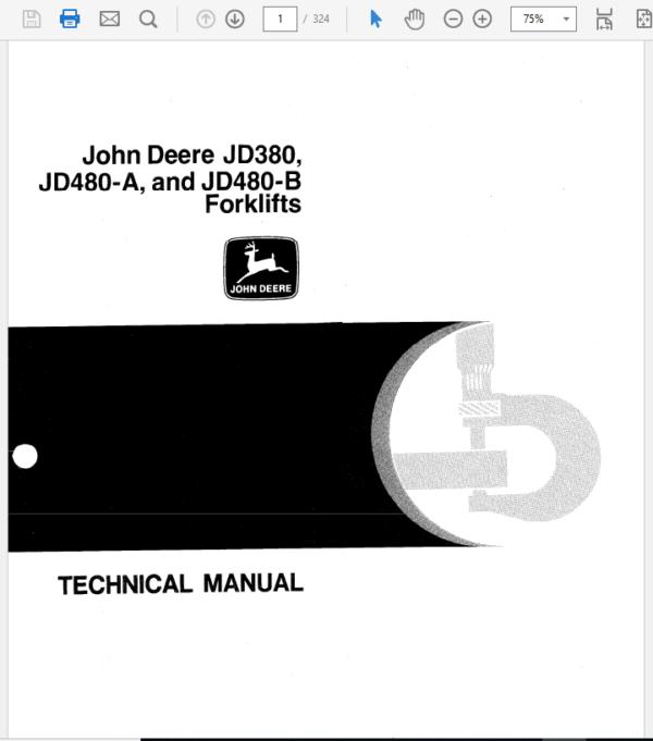 John Deere 380, 480A, 480B Forklift Service Manual TM-1060
