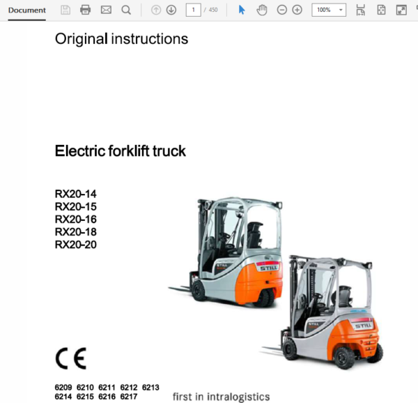 Still Electric Forklift RX20: RX20-14, RX20-15, RX-20-16, RX20-18, RX-20-20 Repair Manual