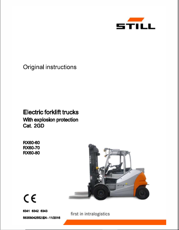 Still Electric Forklift Truck RX60: RX60: RX60-60, RX60-70, RX60-80 Repair Manual