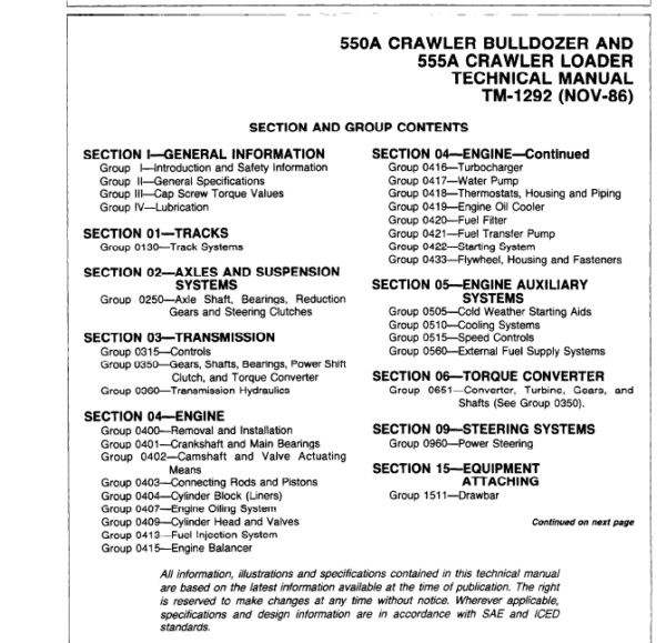 John Deere 550A, 555A Crawler Bulldozer Loader Service Manual