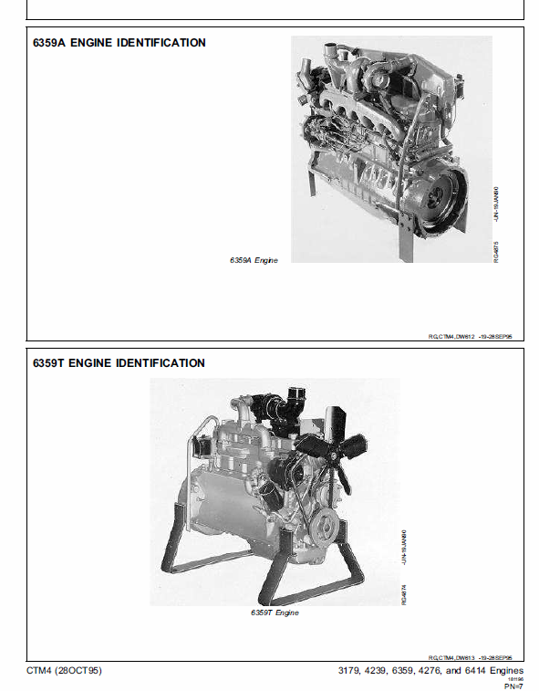 John Deere 300 Series 3179, 4239, 6359, 4276, 6414 OEM Engines Manual