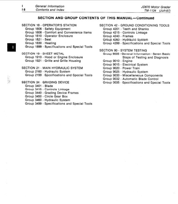 John Deere 670 Motor Grader Service Manual TM-1134