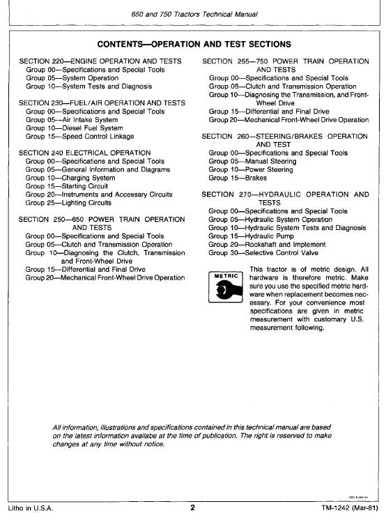 John Deere 650 and 750 Tractors Service Manual TM-1242