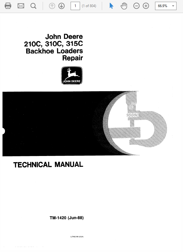 John Deere 210C, 310C, 315C Backhoe Loader Service Manual
