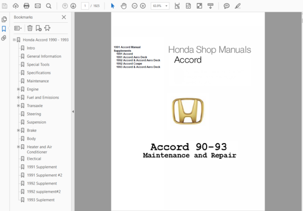 Honda Accord 1986, 1987, 1988, 1989, 1990, 1991, 1992,1993 Repair Manual
