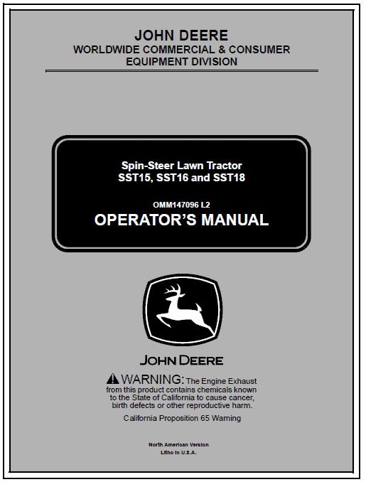 John Deere SST15, SST16, SST18 Lawn Tractor Service Manual TM-1908