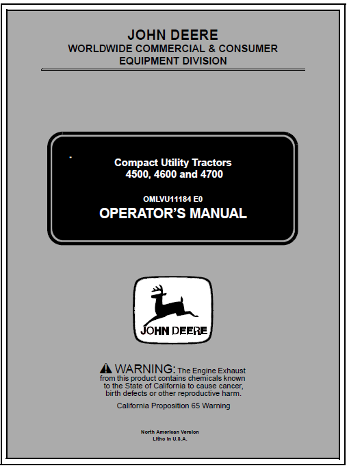 John Deere 4500, 4600 and 4700 Tractor Service Manual