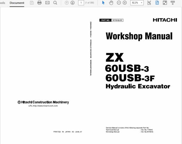 Hitachi ZX60USB-3 and ZX60USB-3F Excavator Service Manual
