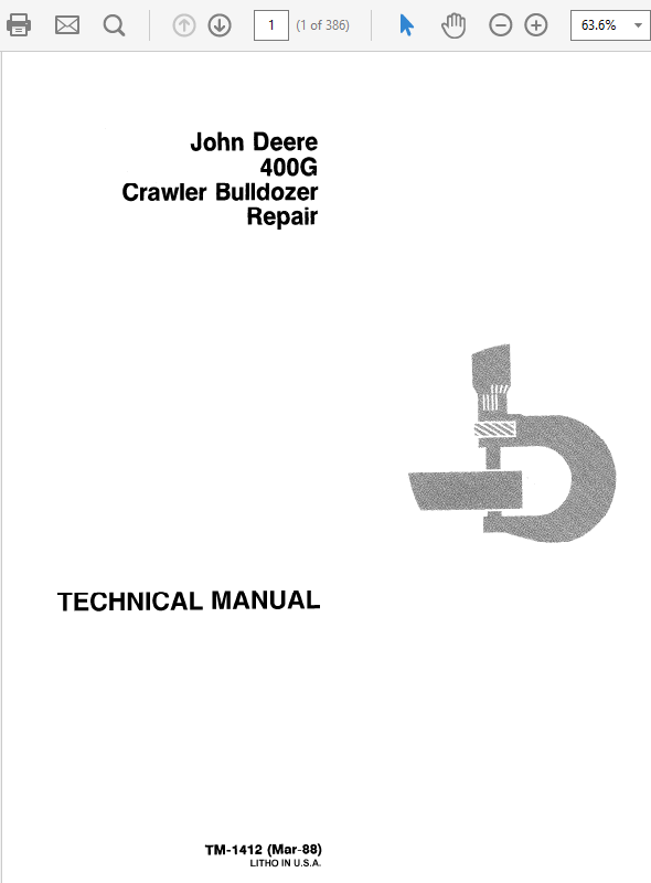 John Deere 400G Crawler Bulldozer Technical Manual TM-1411