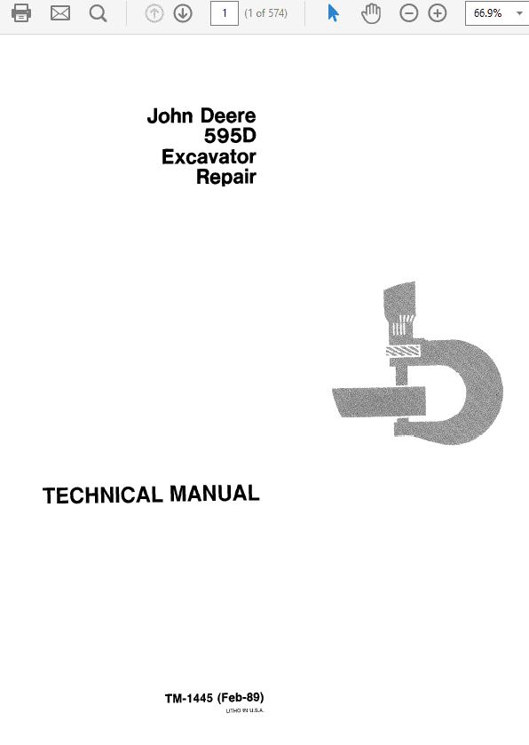 John Deere 595D Excavator Technical Manual TM-1444 & TM-1445