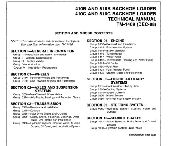 John Deere 410B, 410C, 510B, 510C Backhoe Loader Service Manual