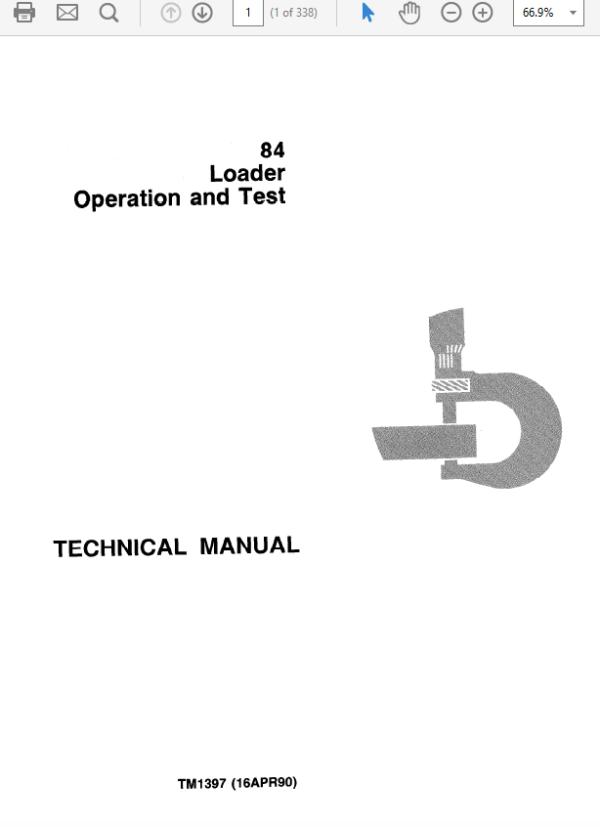 John Deere 84 Loader Service Manual TM-1397 & TM-1398