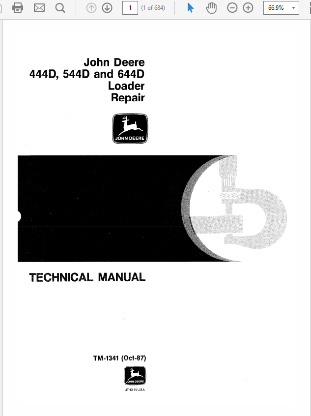 John Deere 444D, 544D and 644D Loader Technical Manual TM-1341