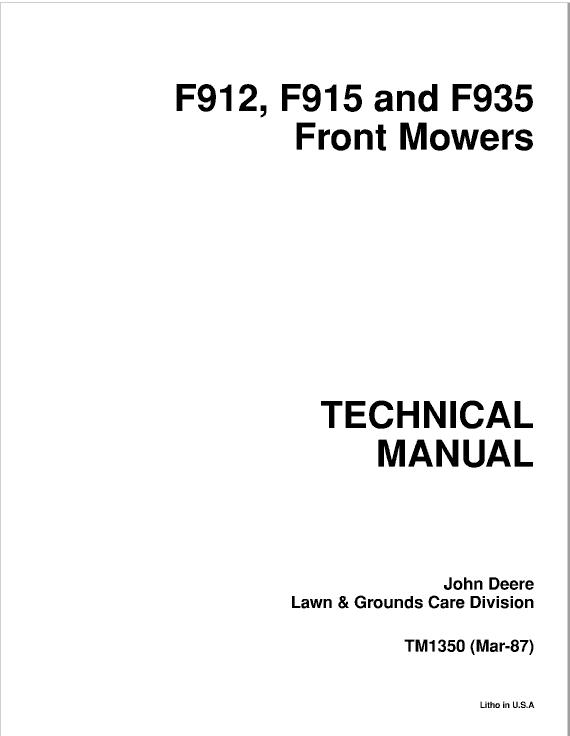 John Deere F911, F912, F915, F925, F932, F935 Front Mowers Service Manual