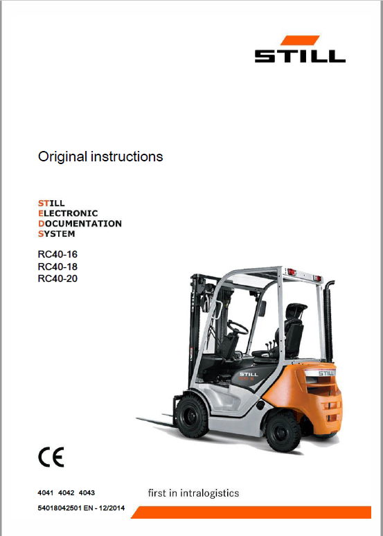 Still Diesel LPG Forklift Trucks RC40: RC40-16, RC40-18, RC40-20 Workshop Manual