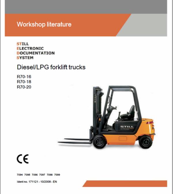 Still Electric Fork Truck R70: R70-16 R70-18 R70-20 Repair Circuit Workshop Operating Manual