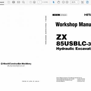 Hitachi ZX85USBLC-3 Excavator Service Manual
