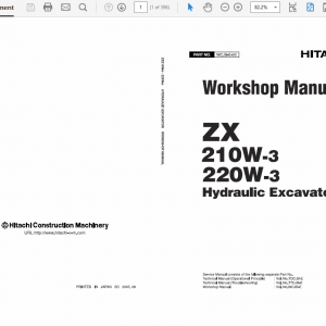 Hitachi ZAXIS ZX210W-3 and ZX220W-3 Excavator Service Manual